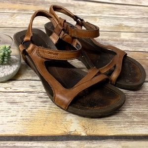TEVA Brown Leather Cabrillo Wedge Heel Sandals